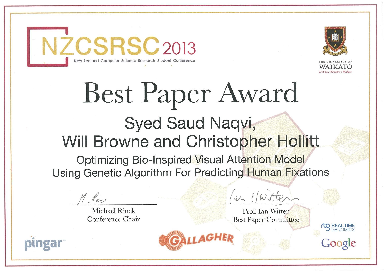 Sauds best paper award