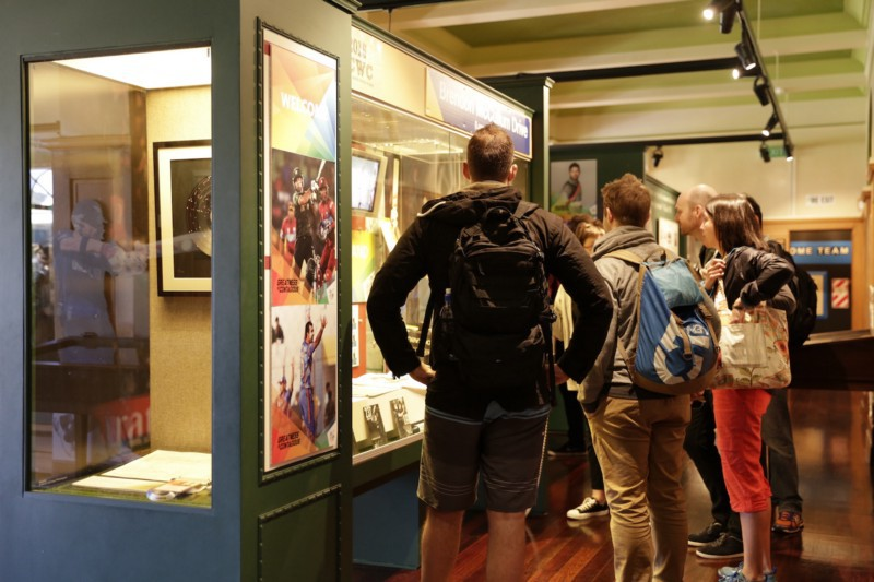 5cb0c2aff269 How do we make static displays more dynamic  Masters students check out  objects on display at the NZ Cricket Museum.