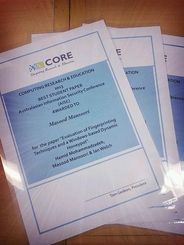 Best student paper award (AISC)